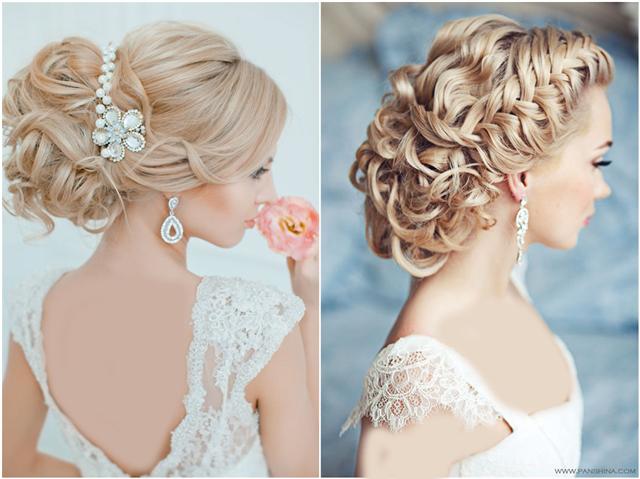 مدل شینیون مو عروس بسیار زیبا به حالت فر بسته همراه با بافت