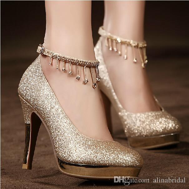 انواع مدل کفش مجلسی پاشنه بلند طلایی زنانه