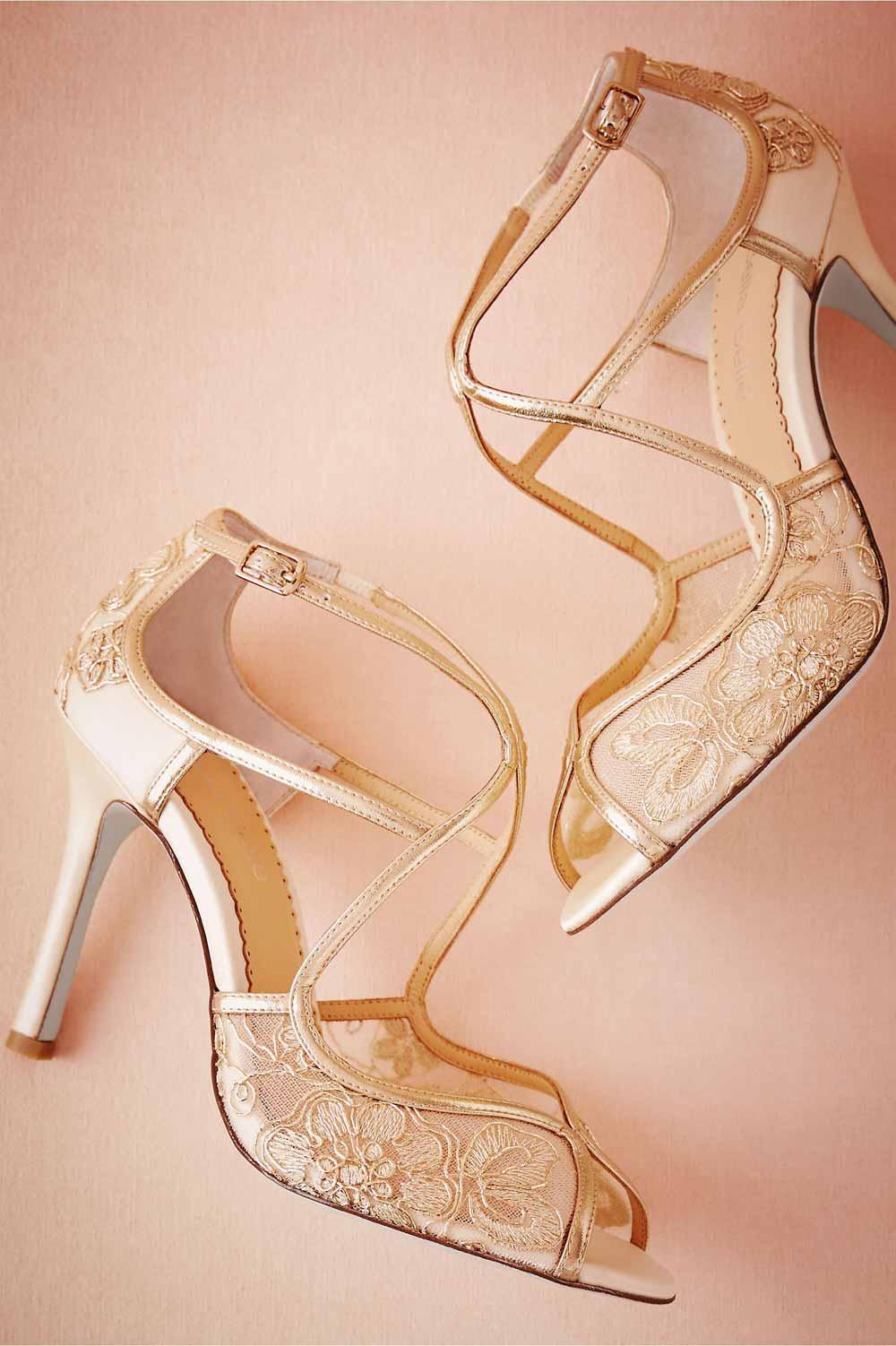 مدل کفش مجلسی طلایی پاشنه بلند