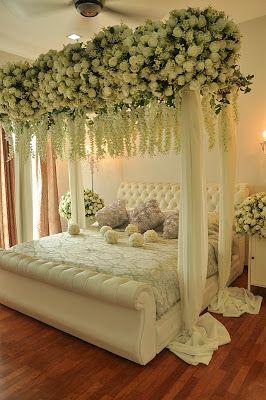 عکس تزیین اتاق خواب عروس با گل و با تور بسیار شیک