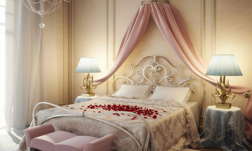 عکس تزیین اتاق خواب عروس با گل و با تور جدید