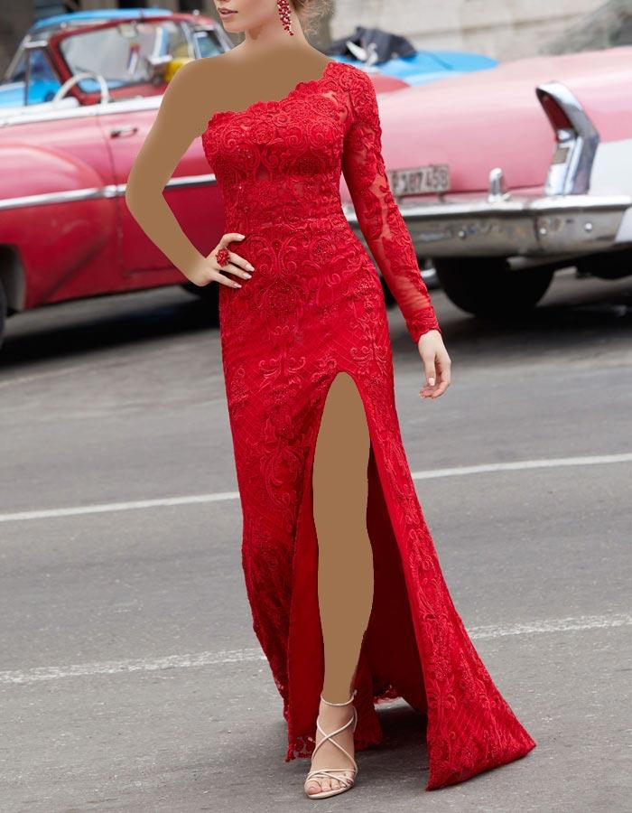انواع مدل لباس مجلسی زنانه و دخترانه تمام گیپور قرمز