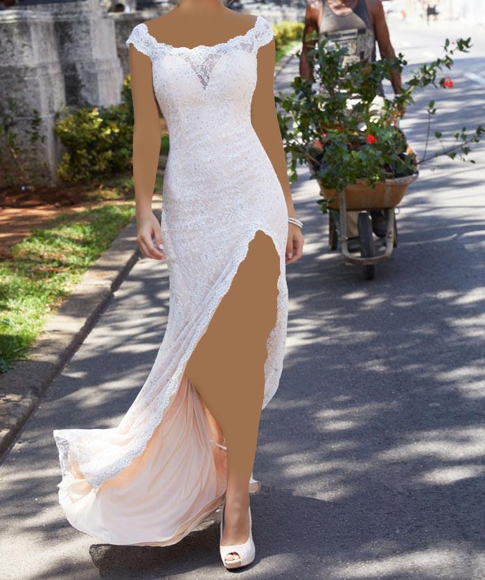مدل لباس مجلسی دخترانه بسیار زیبا، بلند و دنباله دار گیپور