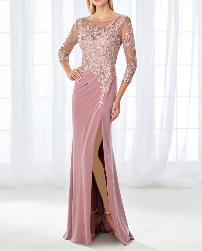مدل لباس مجلسی زنانه با بالاتنه گیپور 2018 و آستین سه ربع