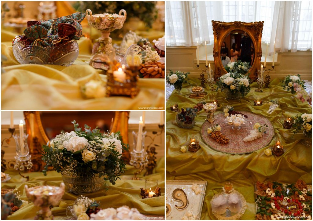 تزئین سفره عقد شیک و ساده با میوه، گب طبیعی و شمع