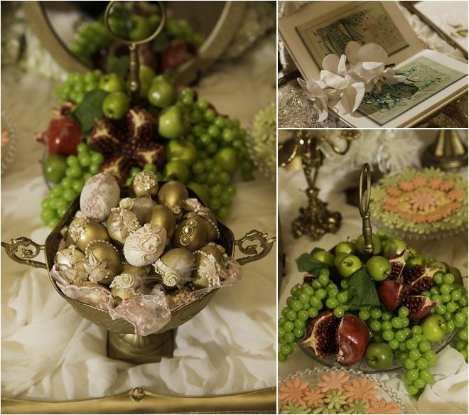 تزئین سفره عقد با میوه و تخم مرغ رنگ شده