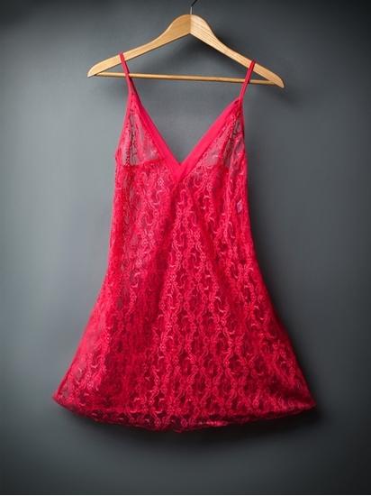 لباس خواب زنانه توری و بدن نما مدل کوتاه و یقه هفت