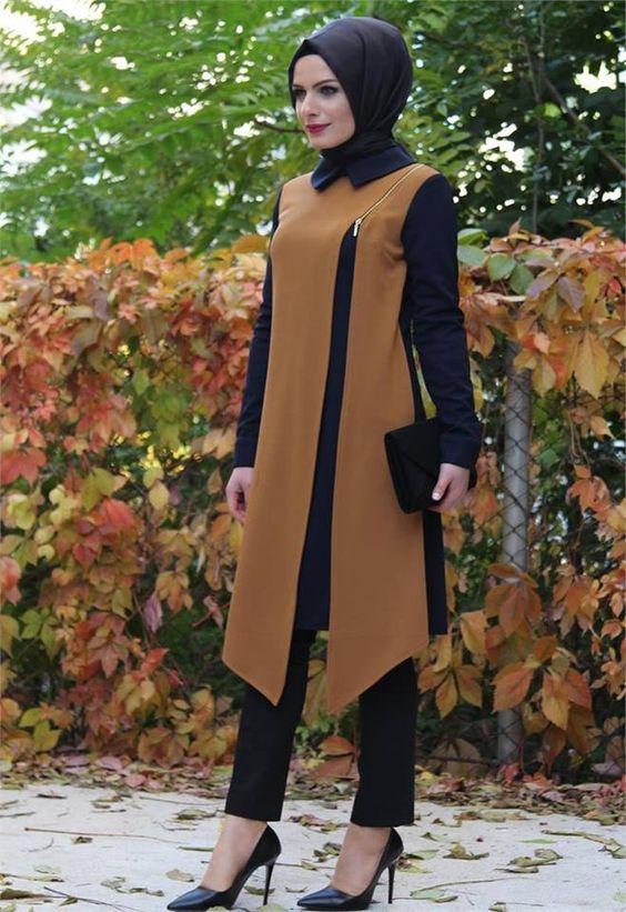 مدل مانتو جدید و به روز زنانه دو رنگ و بلند 97