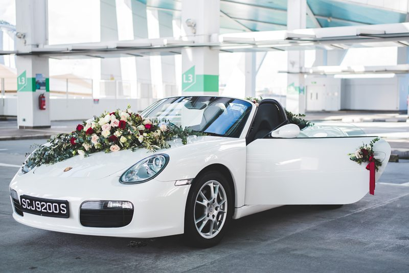 مدل تزیین ماشین عروس لوکس با گل رز