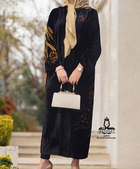 مدل مانتو بلند دخترانه به رنگ مشکی برای عید